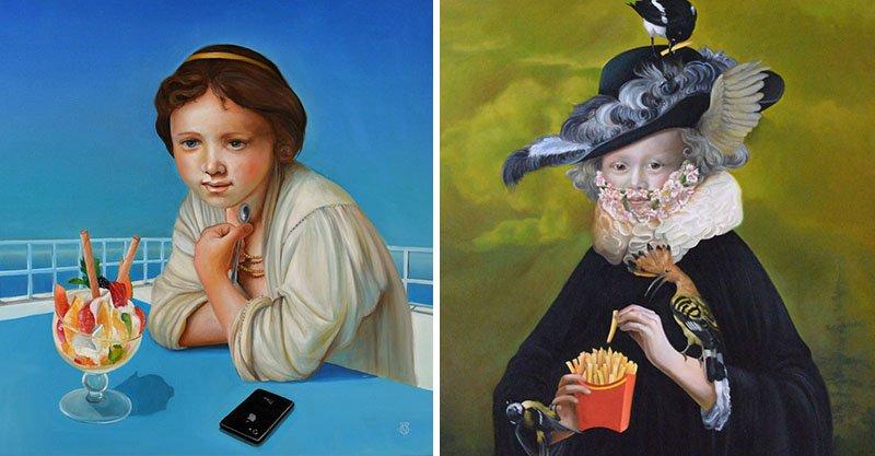 畫家在古典畫作中加入現代元素 「維納斯誕生」零違和!