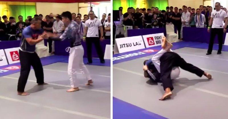 中國太極達人PK巴西柔術專家 認輸後「來陰的」被裁判5秒KO!