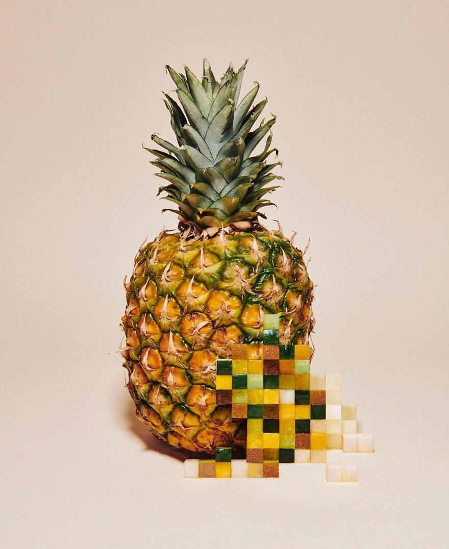 水果食物們通通「被馬賽克化」了!看第二眼才發現被眼睛出賣