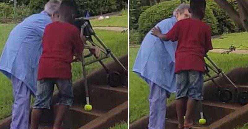 8歲男孩見「行動不便老奶奶上階梯」主動幫忙 奶奶一回頭惹哭網 (影片)