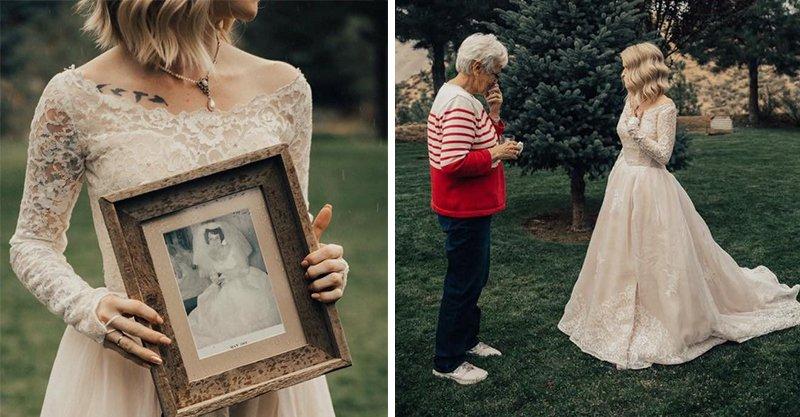 正妹結婚偷偷「穿上奶奶的婚紗」 奶奶看見時的表情讓一切都值得了!